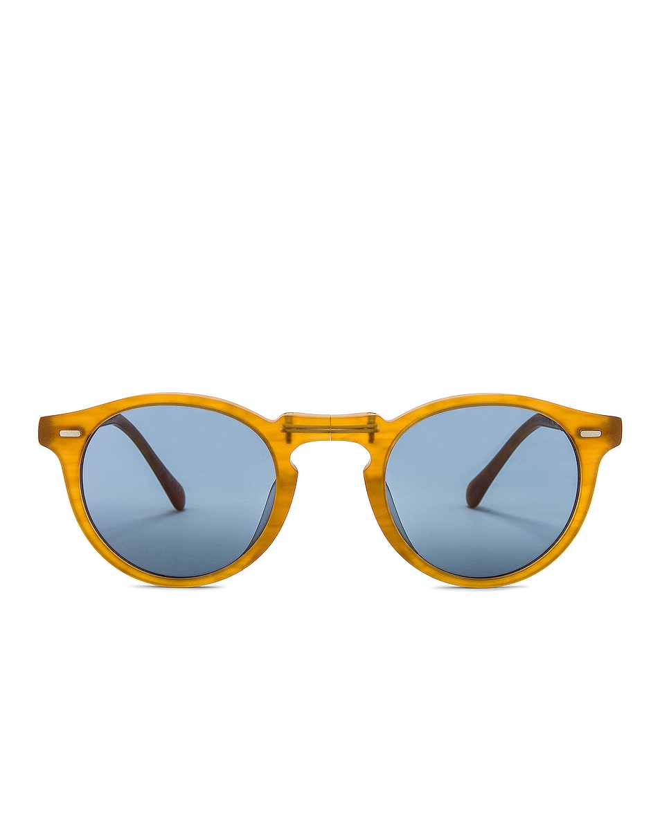 Image 1 of Oliver Peoples Gregory Peck 1962 Folding Sunglasses in Semi-Matte Amber Tortoise & Cobalto