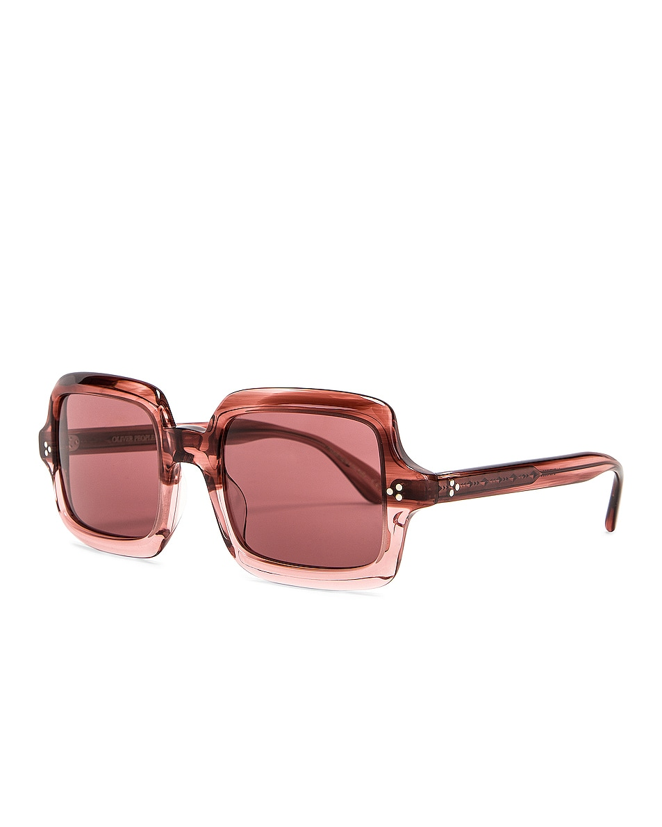 Image 2 of Oliver Peoples Aviri Square Sunglasses in Rose & Damson