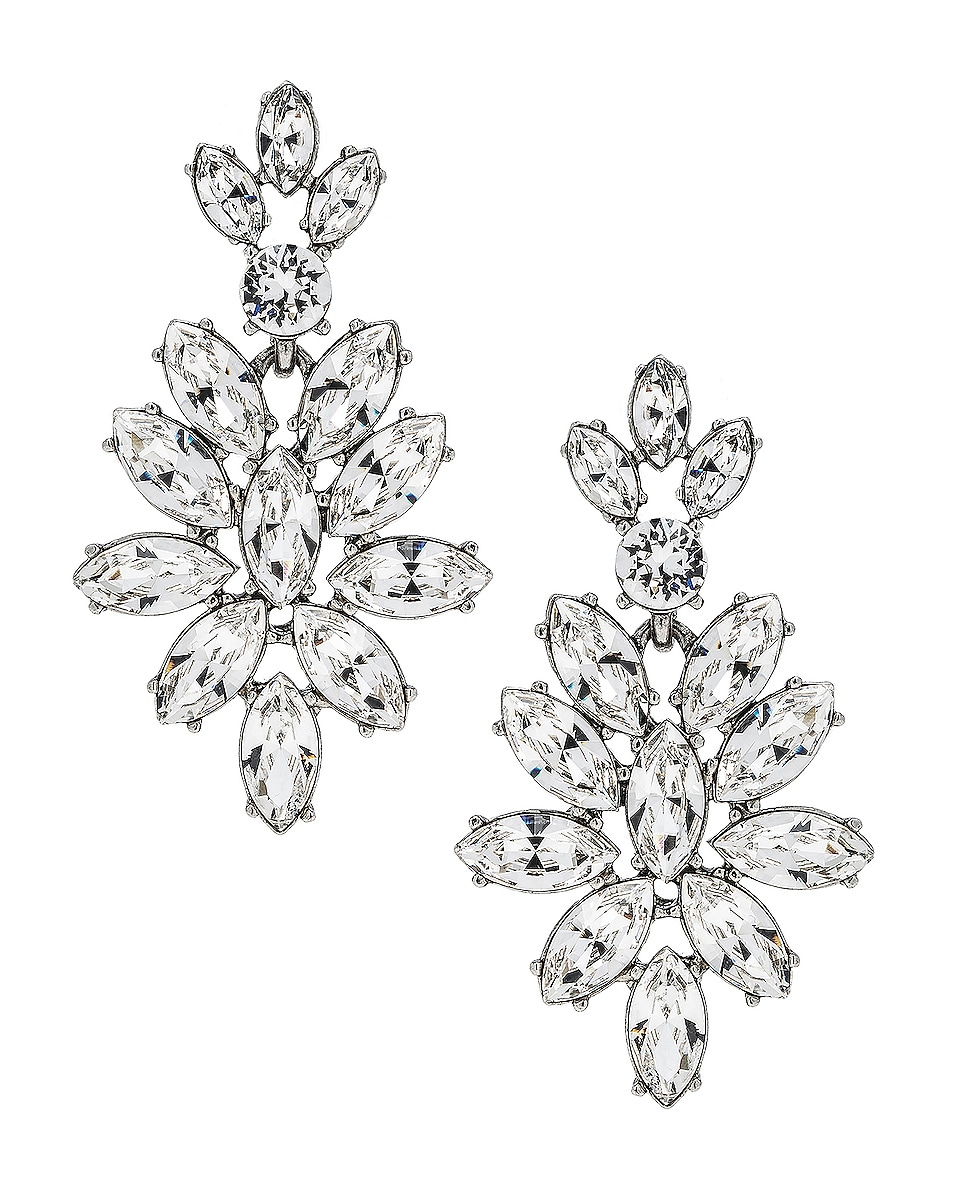Image 1 of Oscar de la Renta Navette Crystal Earrings in Crystal & Silver