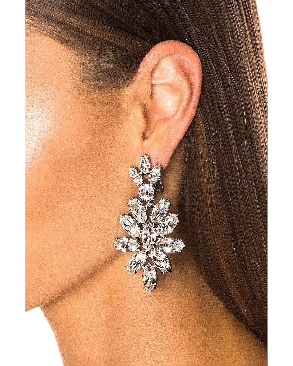 Image 2 of Oscar de la Renta Navette Crystal Earrings in Crystal & Silver