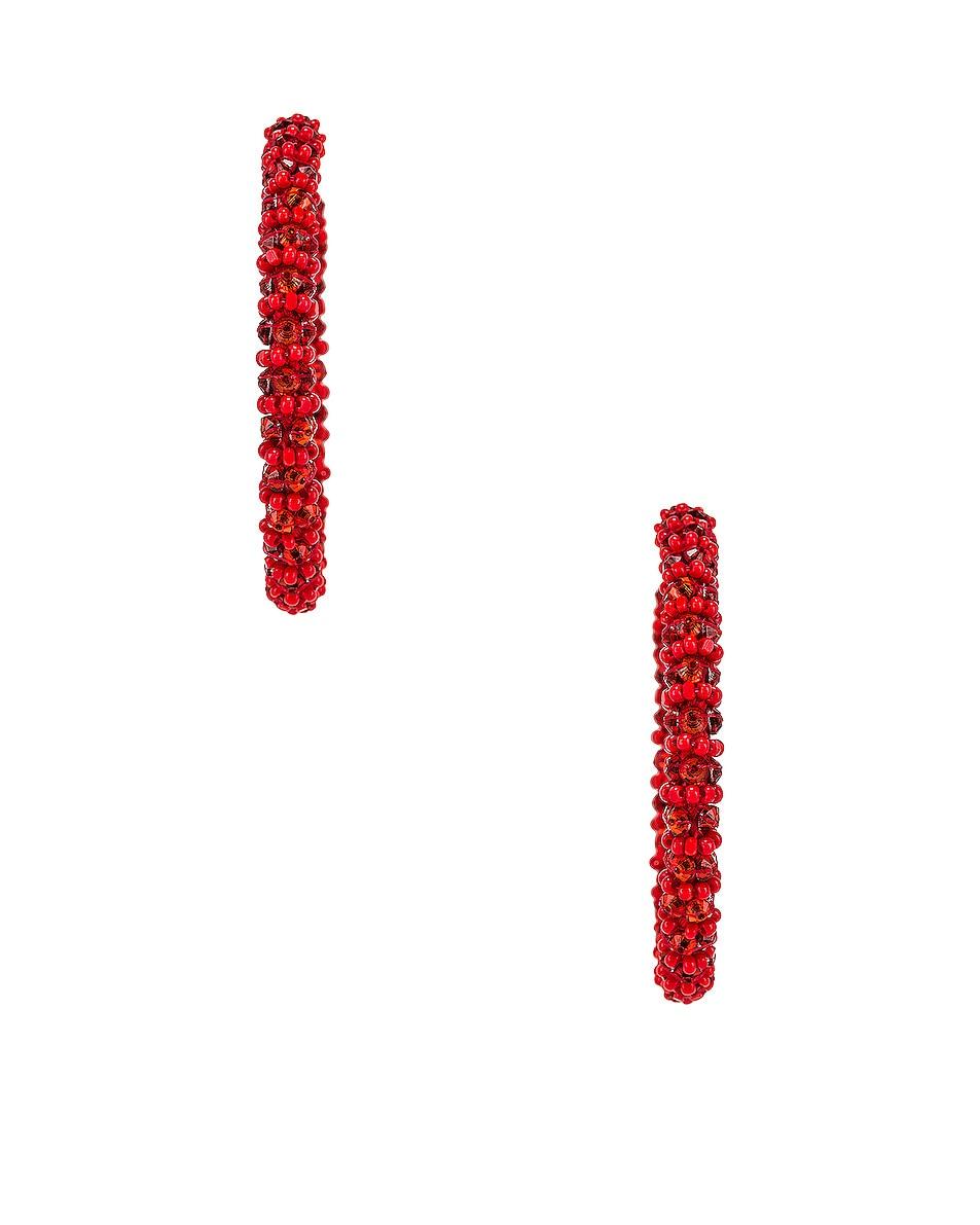 Image 3 of Oscar de la Renta Beaded Hoop Earrings in Cayenne