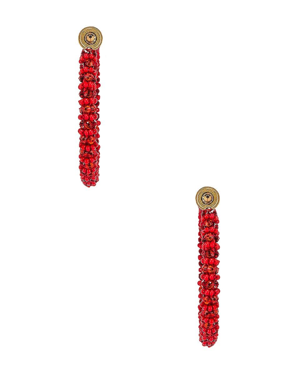 Image 4 of Oscar de la Renta Beaded Hoop Earrings in Cayenne