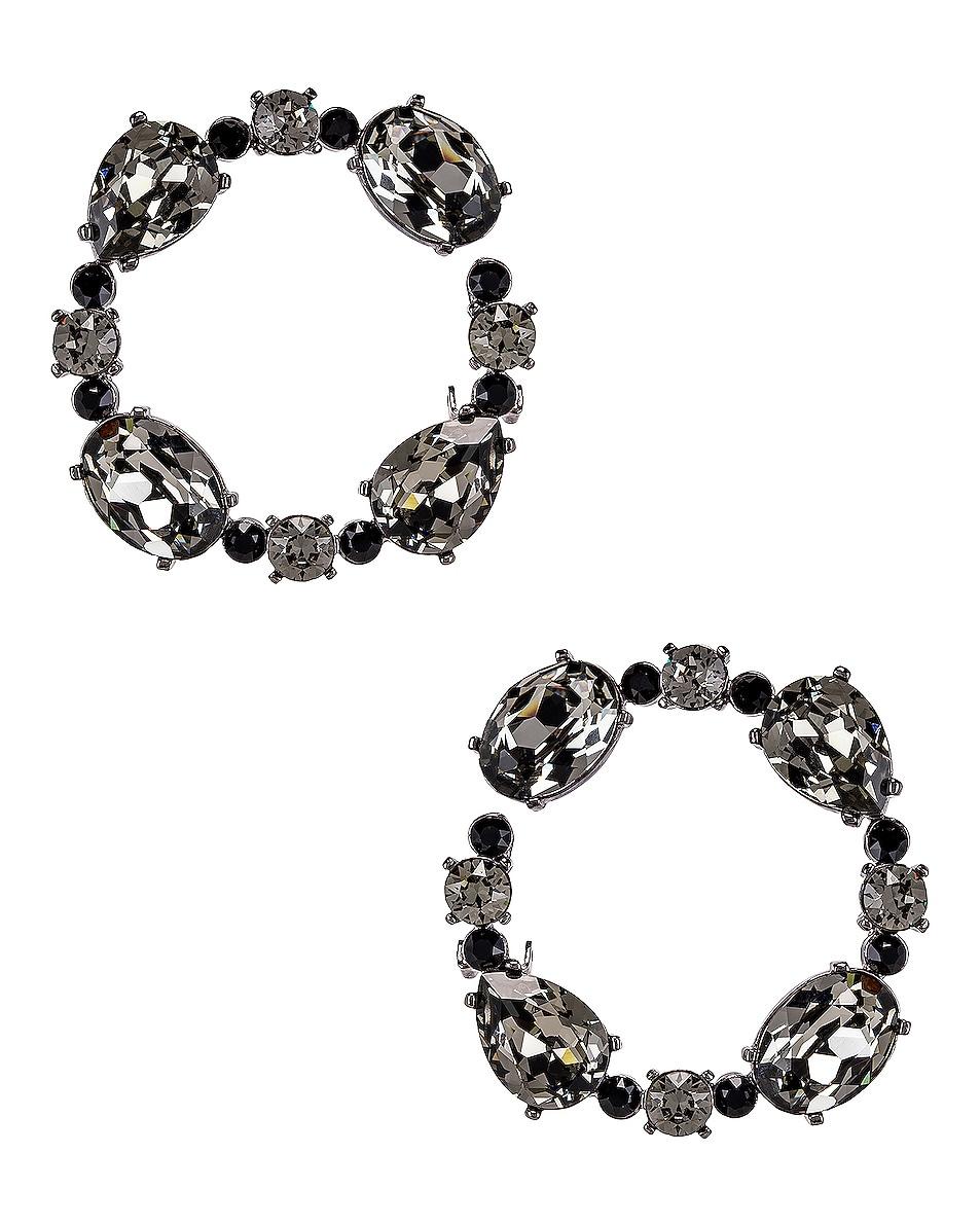 Image 1 of Oscar de la Renta Crystal Earrings in Black Diamond