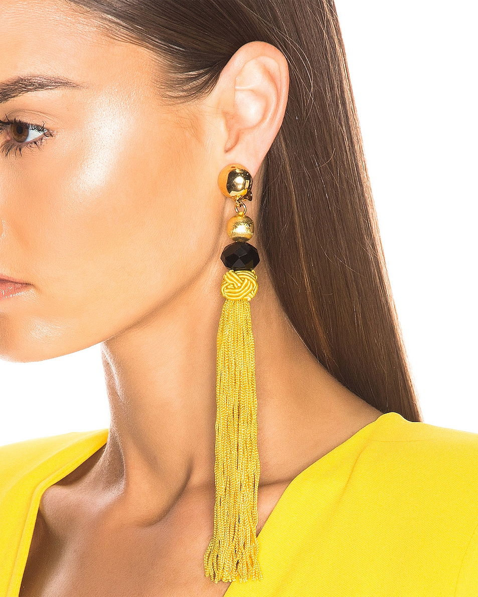 Image 2 of Oscar de la Renta Cord Tassel Earrings in Ginger
