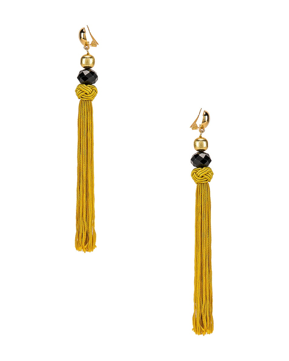 Image 3 of Oscar de la Renta Cord Tassel Earrings in Ginger
