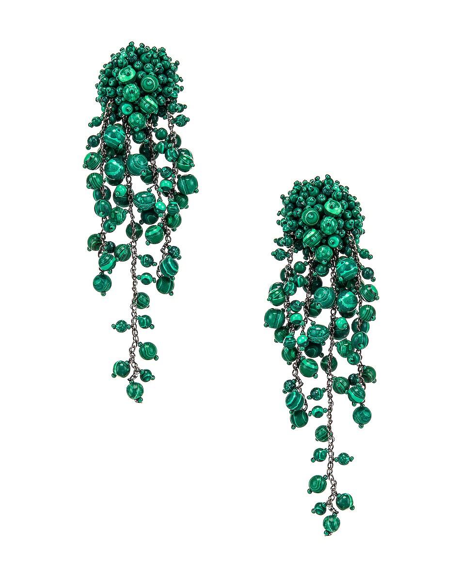 Image 1 of Oscar de la Renta Beaded Earrings in Basil