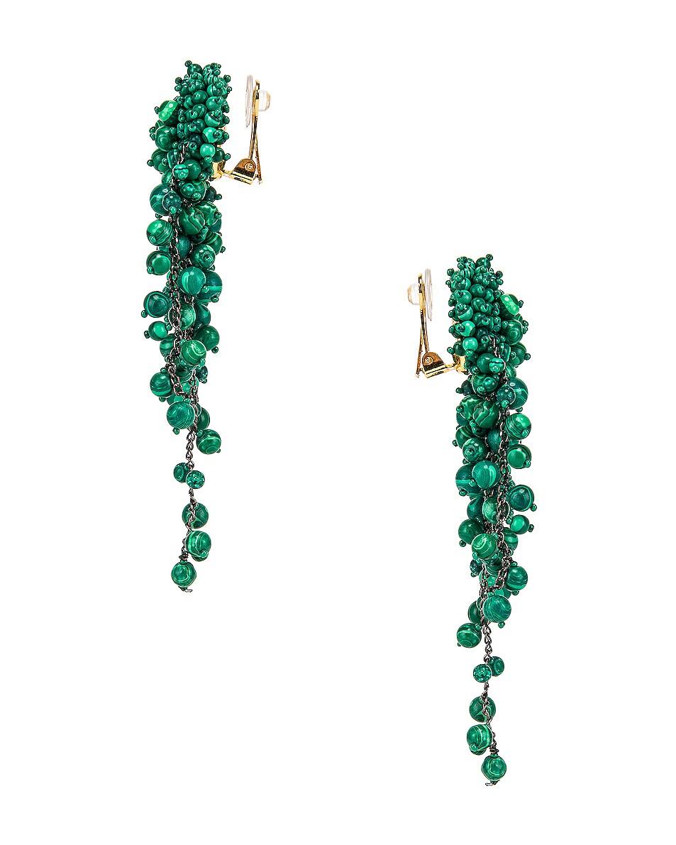 Image 2 of Oscar de la Renta Beaded Earrings in Basil