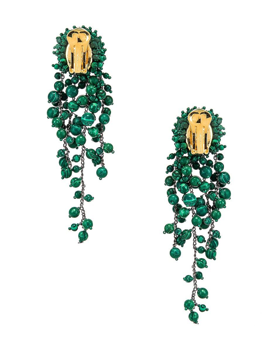 Image 3 of Oscar de la Renta Beaded Earrings in Basil