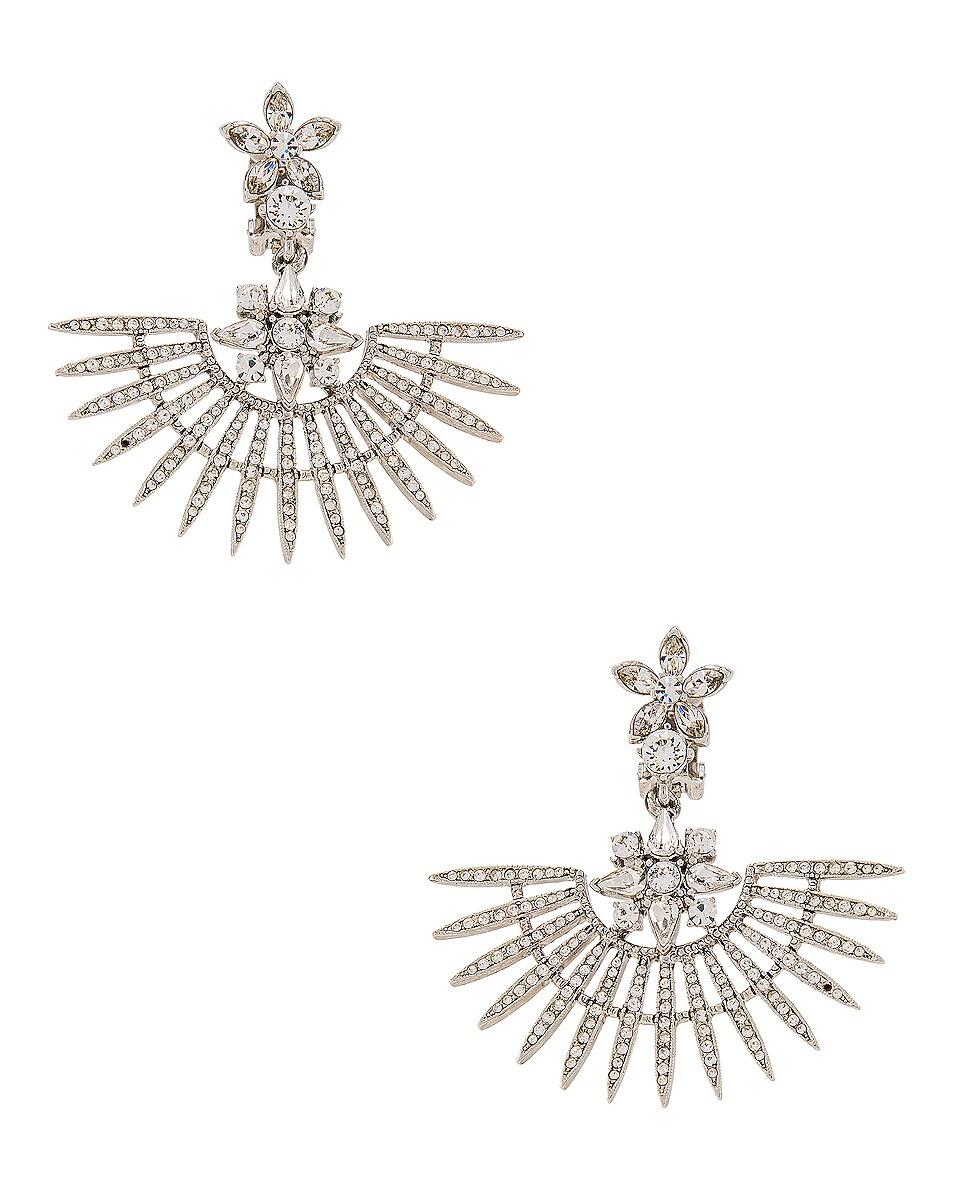 Image 1 of Oscar de la Renta Fan Earrings in Silk