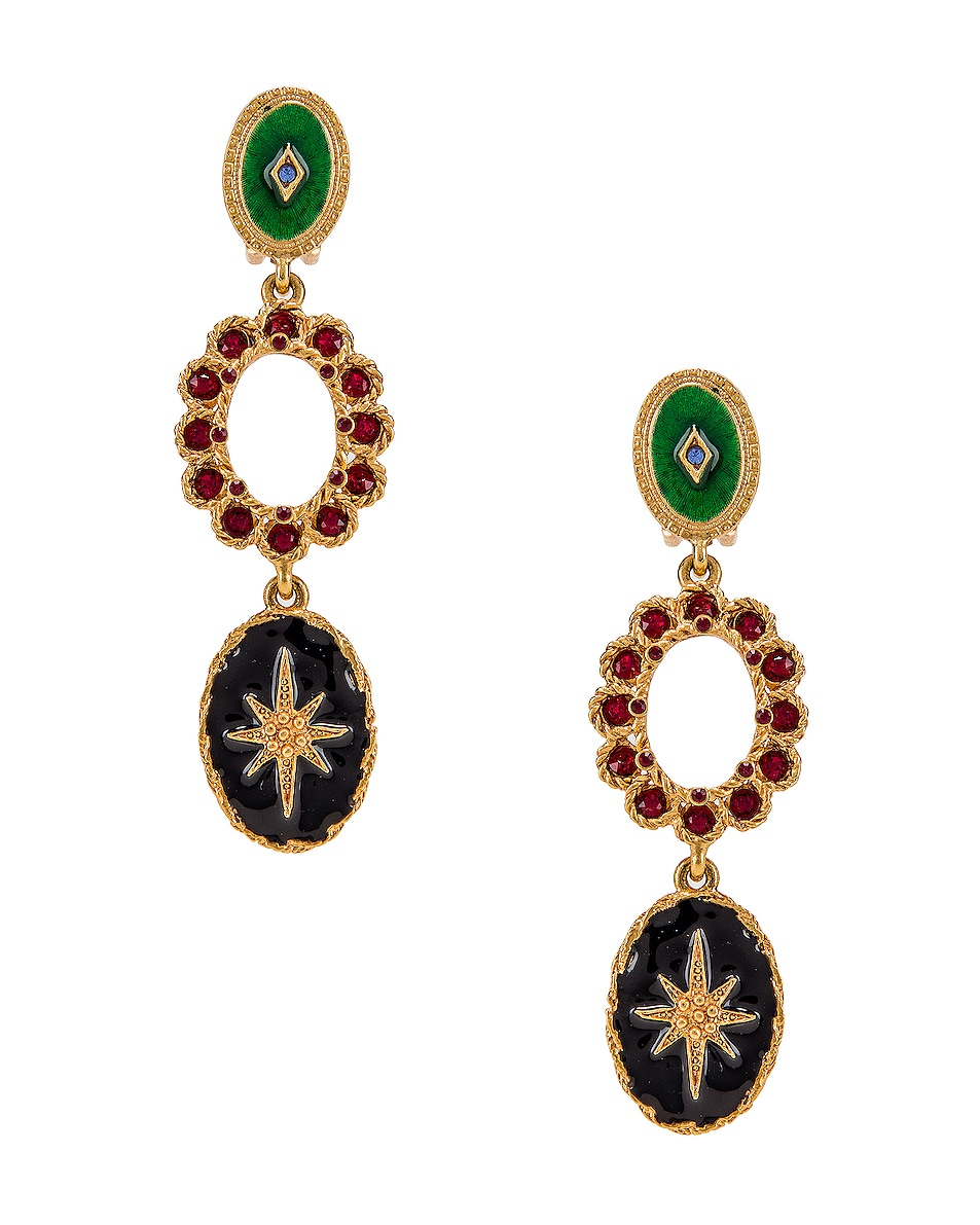 Image 1 of Oscar de la Renta Jeweled Triple Drop Earrings in Gold Multi