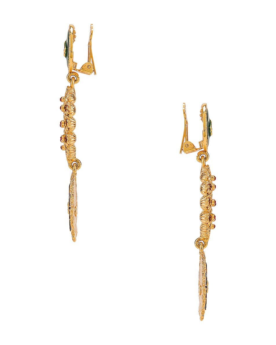 Image 2 of Oscar de la Renta Jeweled Triple Drop Earrings in Gold Multi