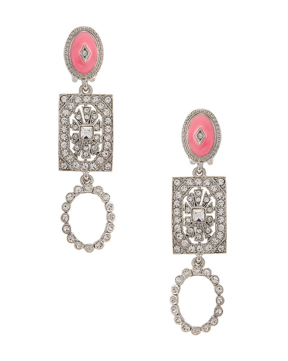 Image 1 of Oscar de la Renta Jeweled Drop Earrings in Silver Multi