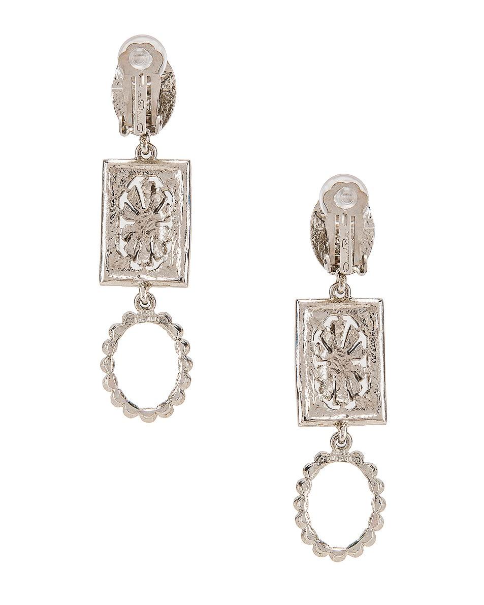 Image 4 of Oscar de la Renta Jeweled Drop Earrings in Silver Multi