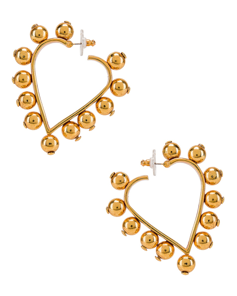 Image 1 of Oscar de la Renta Heart Earrings in Gold