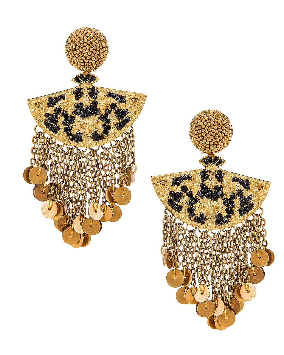 Image 1 of Oscar de la Renta Fan Chain Earrings in Black