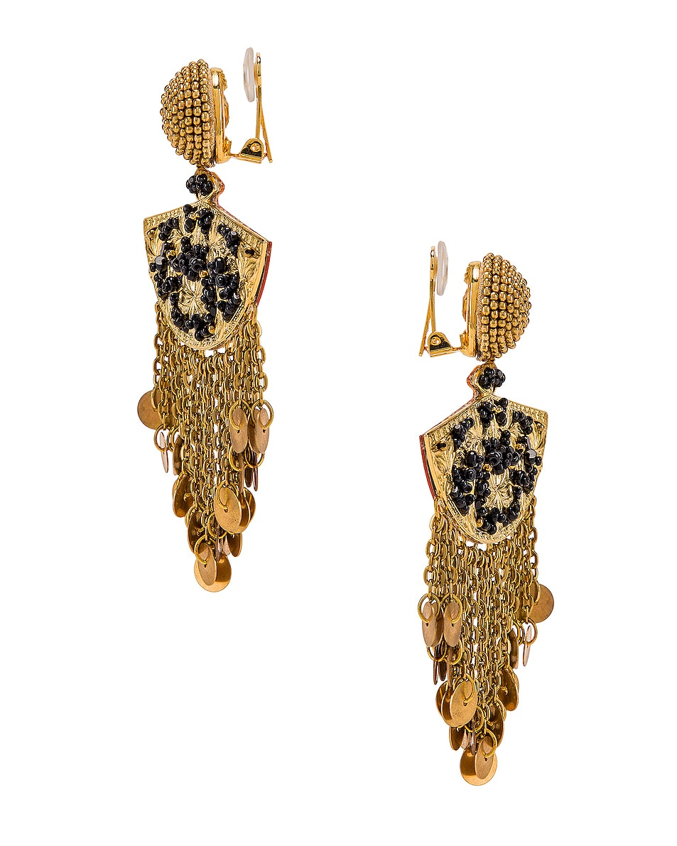 Image 2 of Oscar de la Renta Fan Chain Earrings in Black