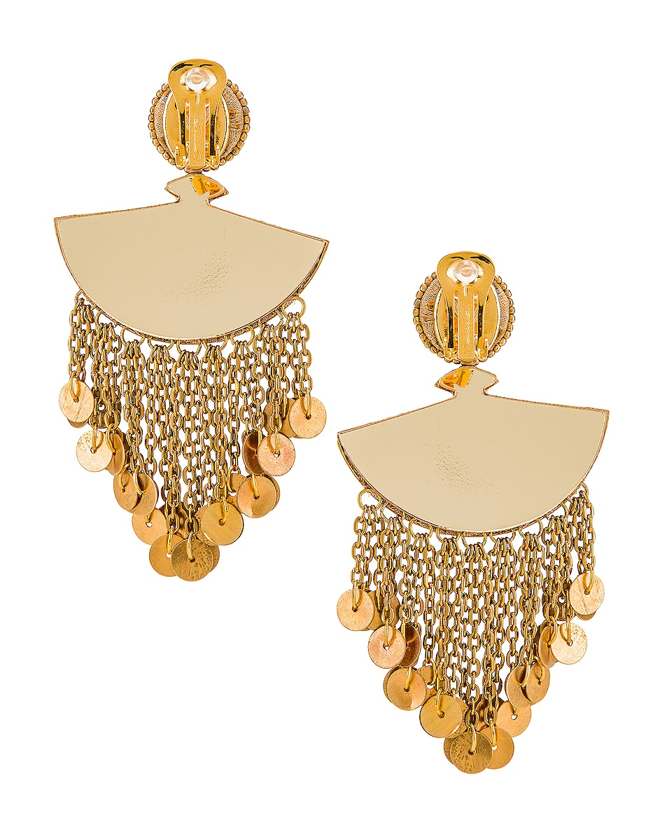 Image 3 of Oscar de la Renta Fan Chain Earrings in Black