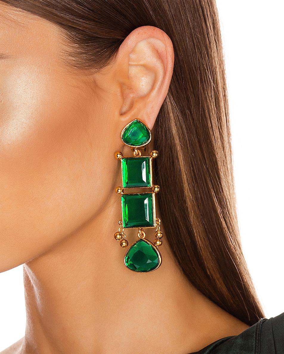 Image 2 of Oscar de la Renta Bold Square Earrings in Emerald