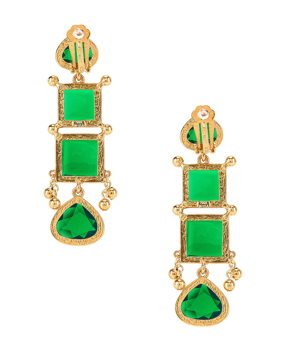Image 3 of Oscar de la Renta Bold Square Earrings in Emerald