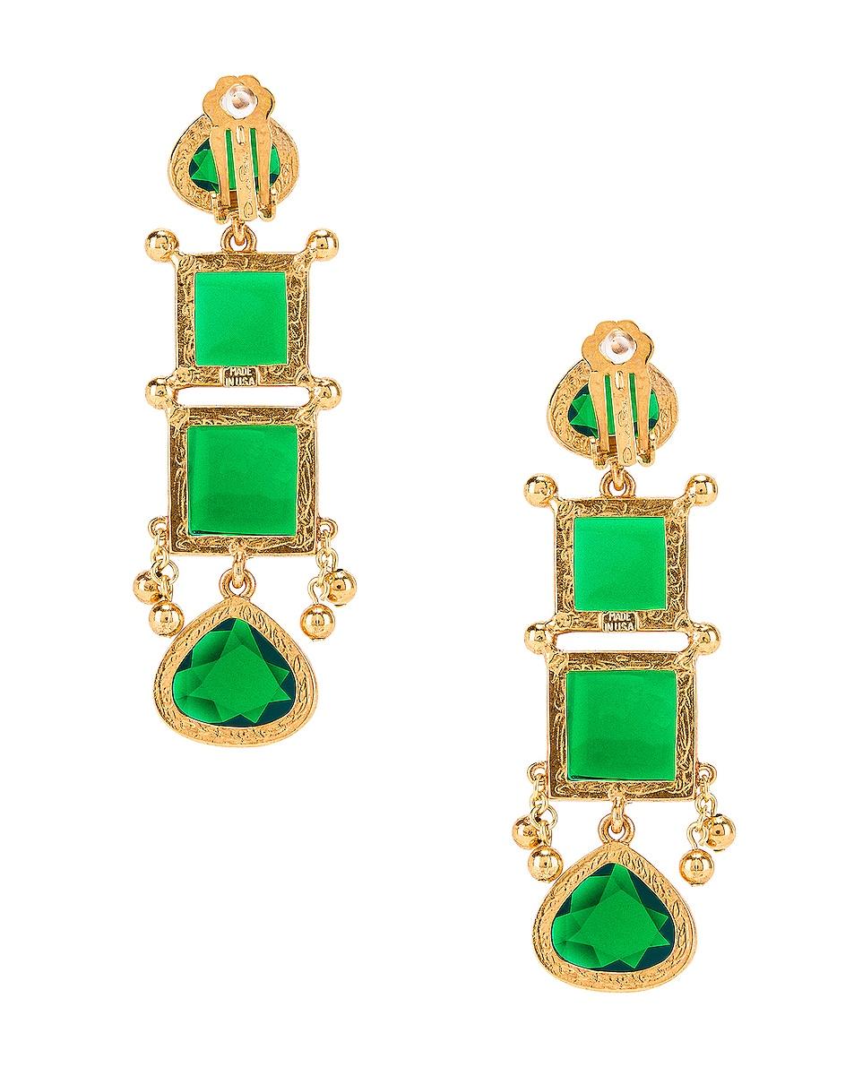 Image 3 of Oscar de la Renta Bold Square Earrings in Emerald
