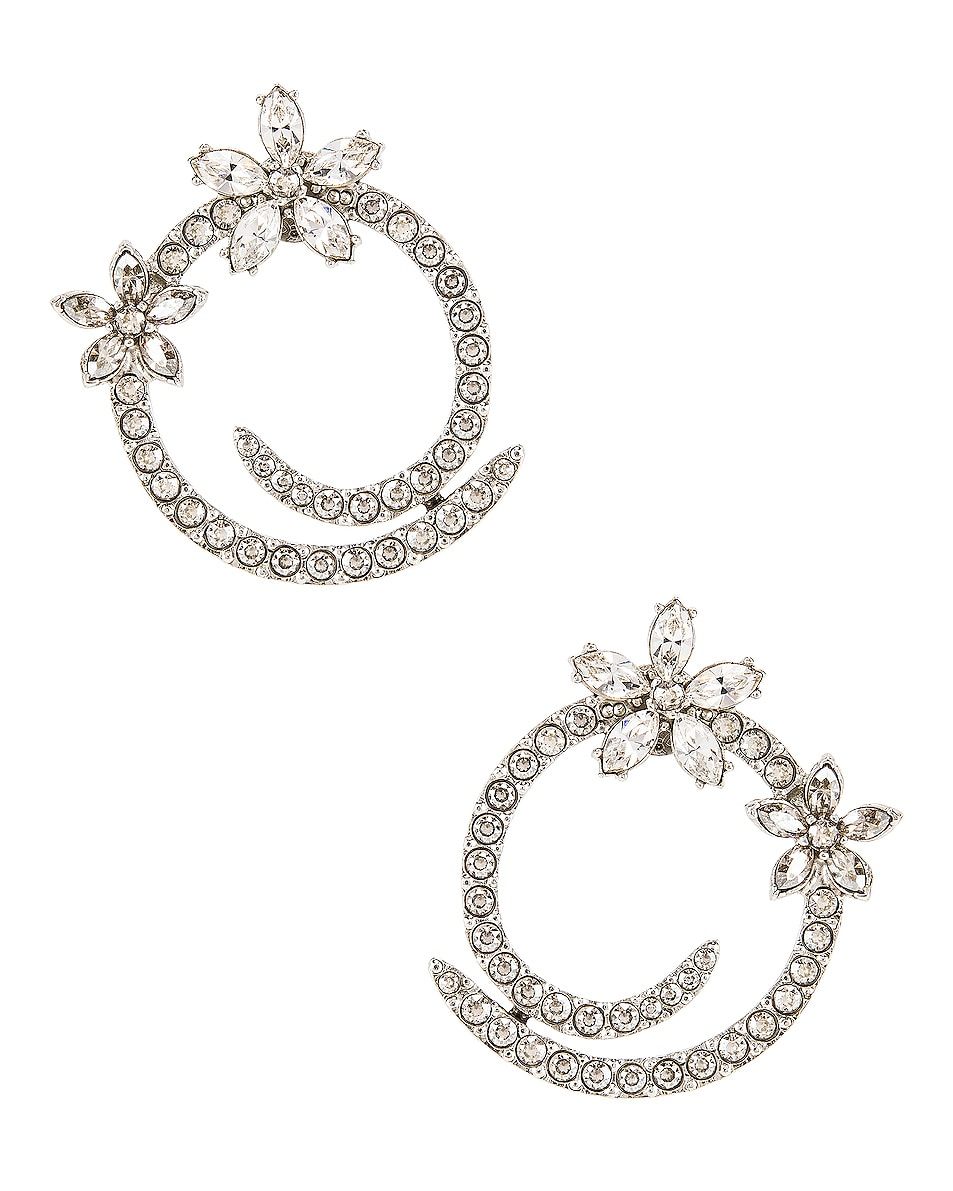Image 1 of Oscar de la Renta Pave Flower Crystal Hoop Earrings in Silver