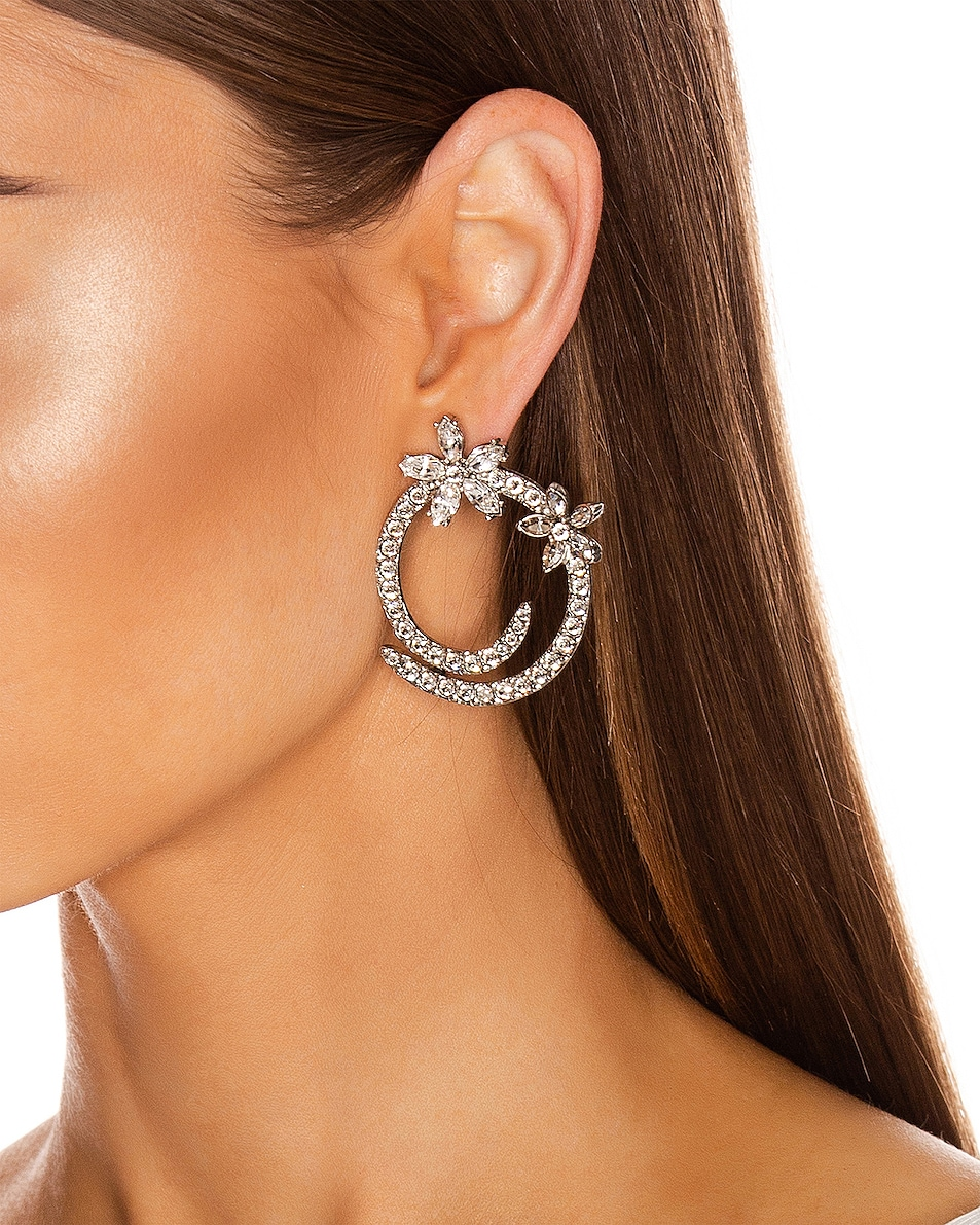Image 2 of Oscar de la Renta Pave Flower Crystal Hoop Earrings in Silver