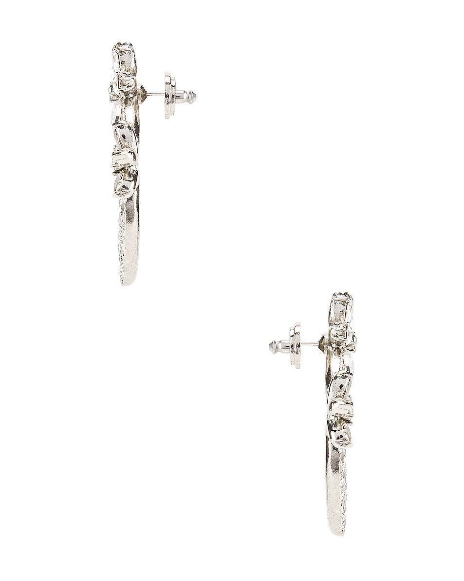 Image 3 of Oscar de la Renta Pave Flower Crystal Hoop Earrings in Silver