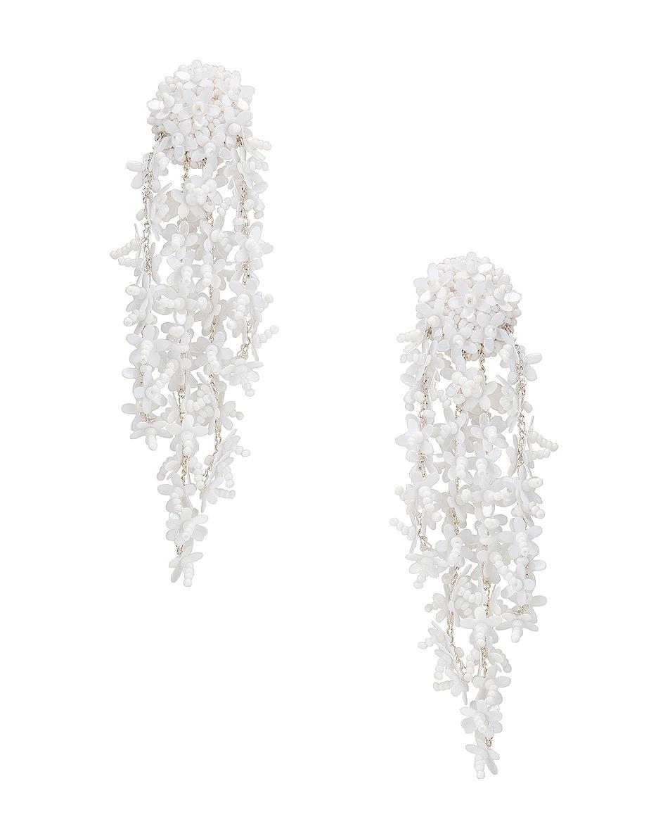 Image 1 of Oscar de la Renta Beaded Cascade Drop Earrings in White