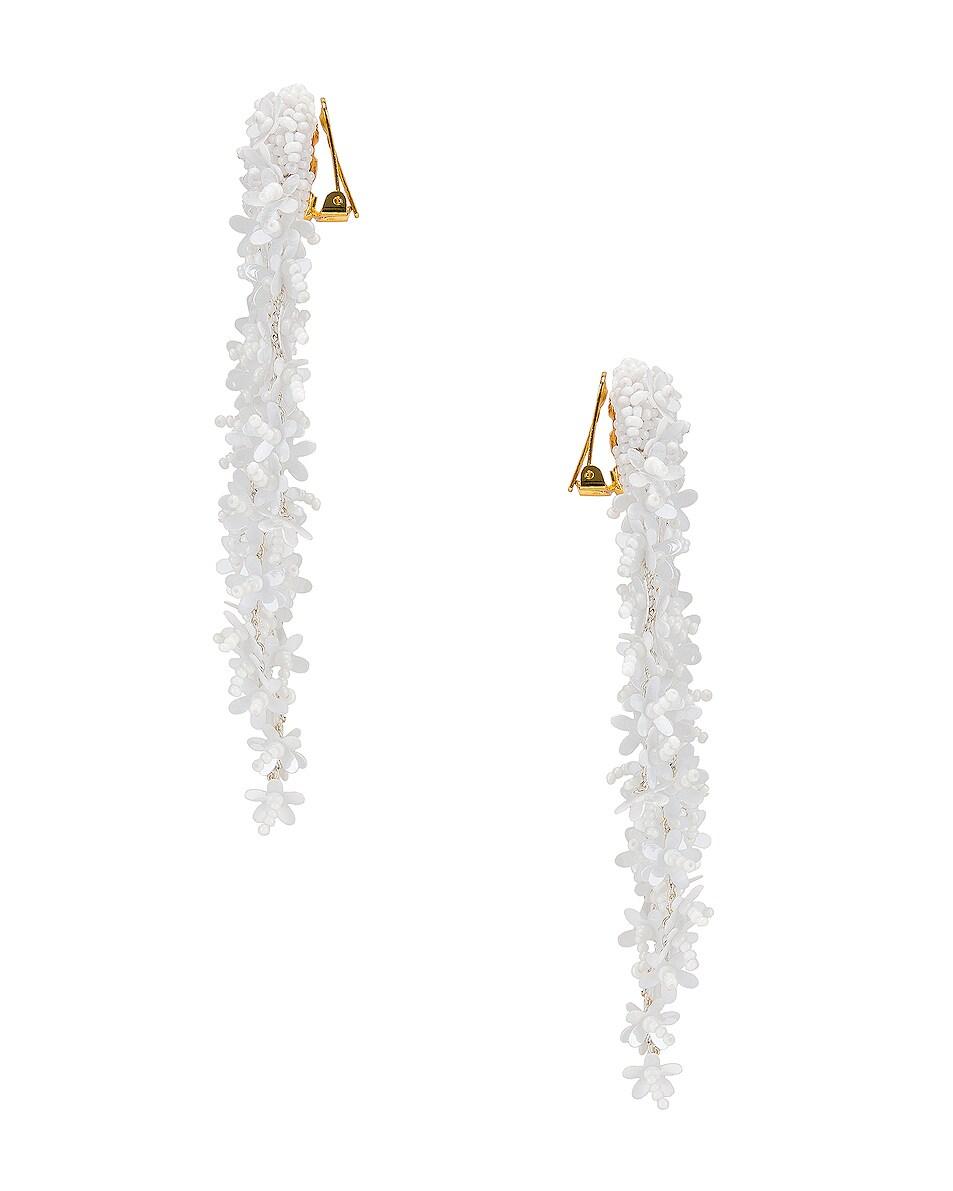 Image 3 of Oscar de la Renta Beaded Cascade Drop Earrings in White