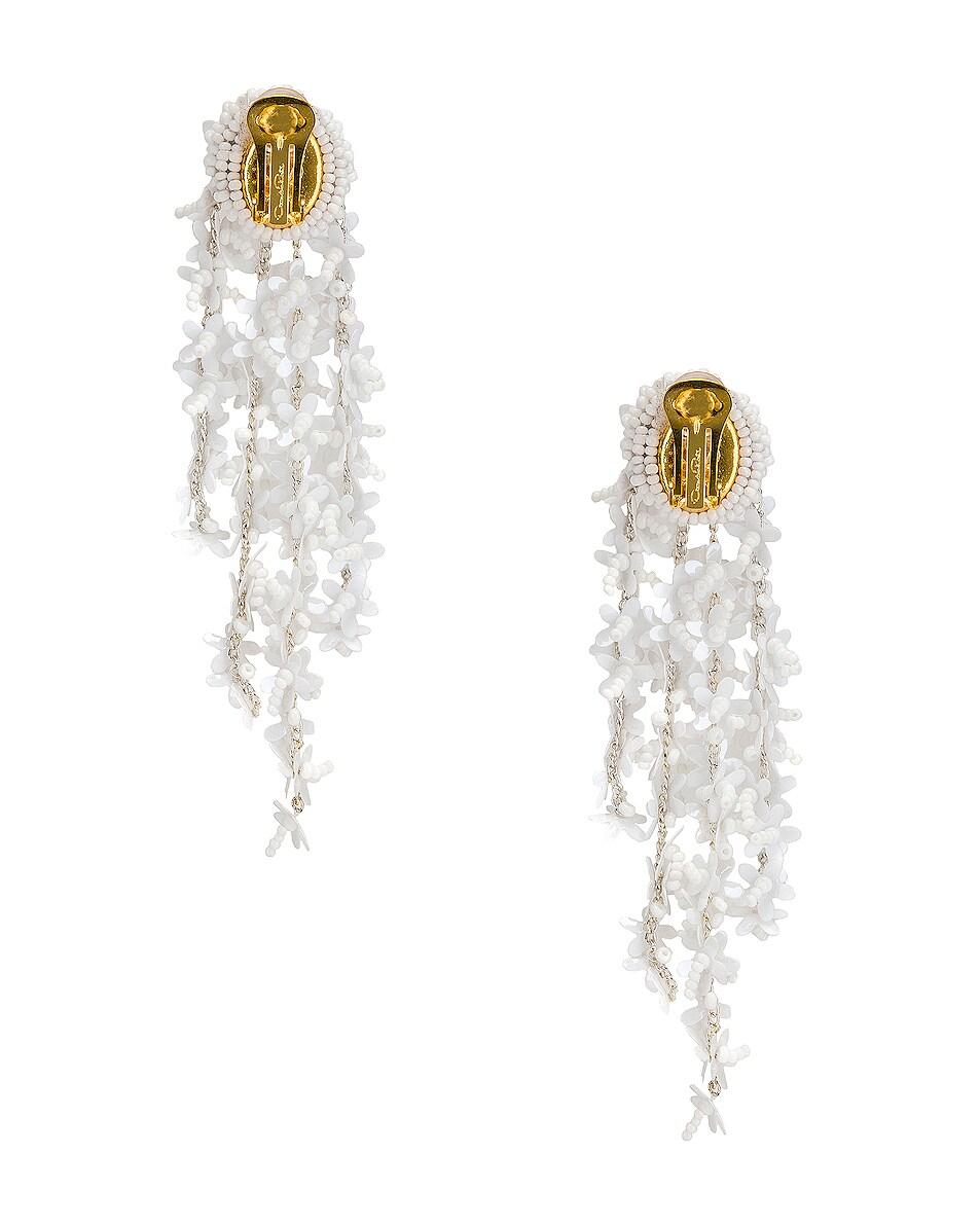 Image 4 of Oscar de la Renta Beaded Cascade Drop Earrings in White