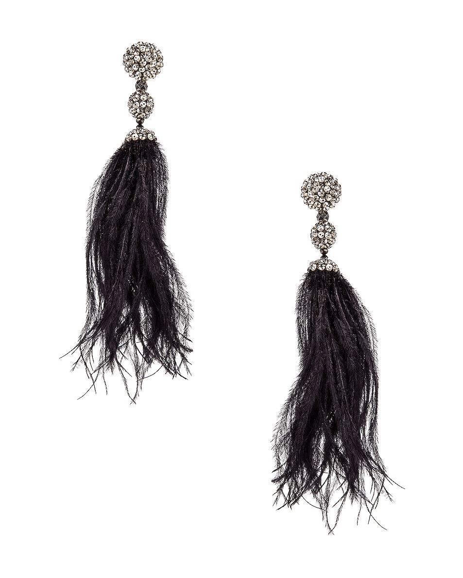 Image 1 of Oscar de la Renta Long Beaded Feather Earrings in Black