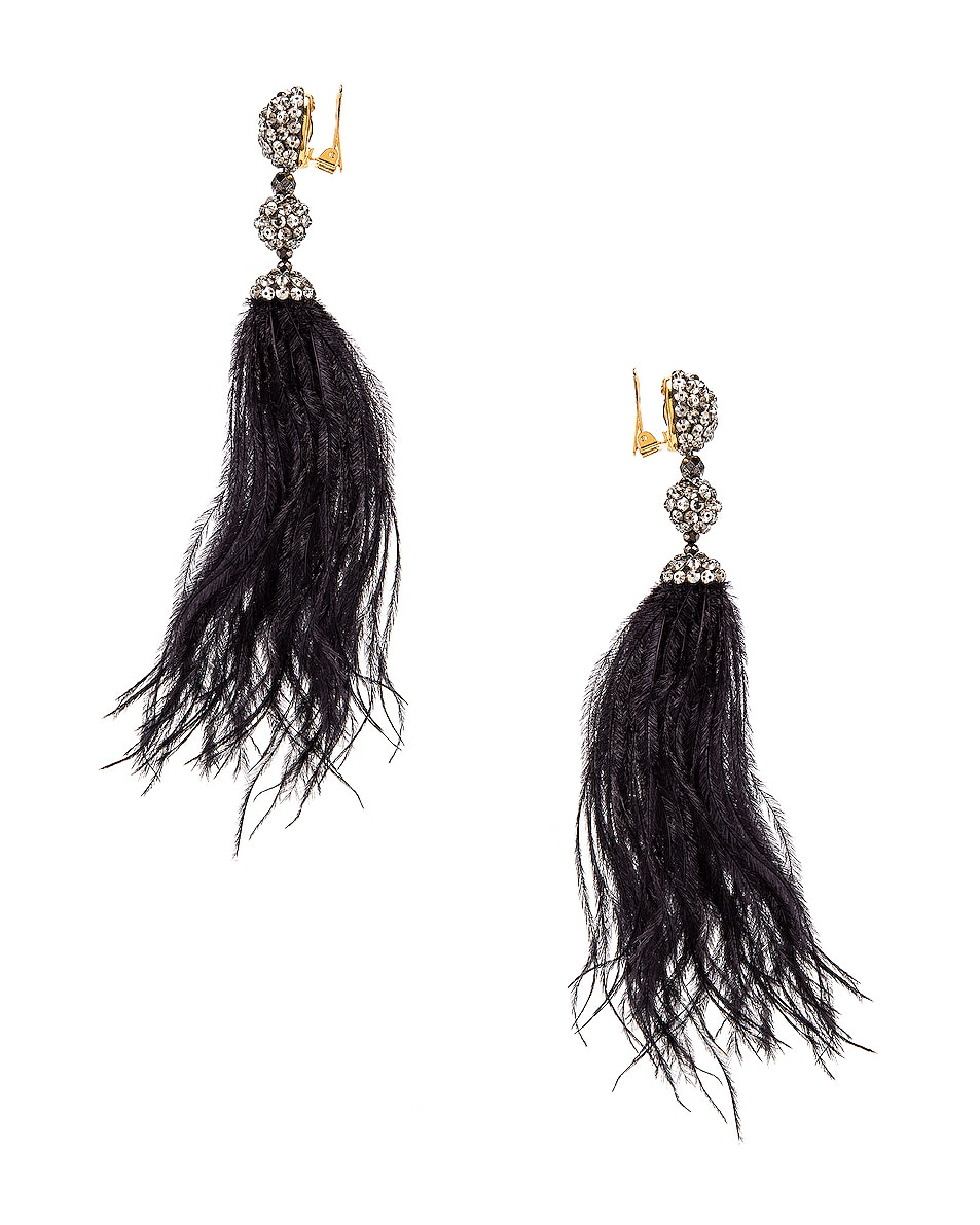 Image 3 of Oscar de la Renta Long Beaded Feather Earrings in Black