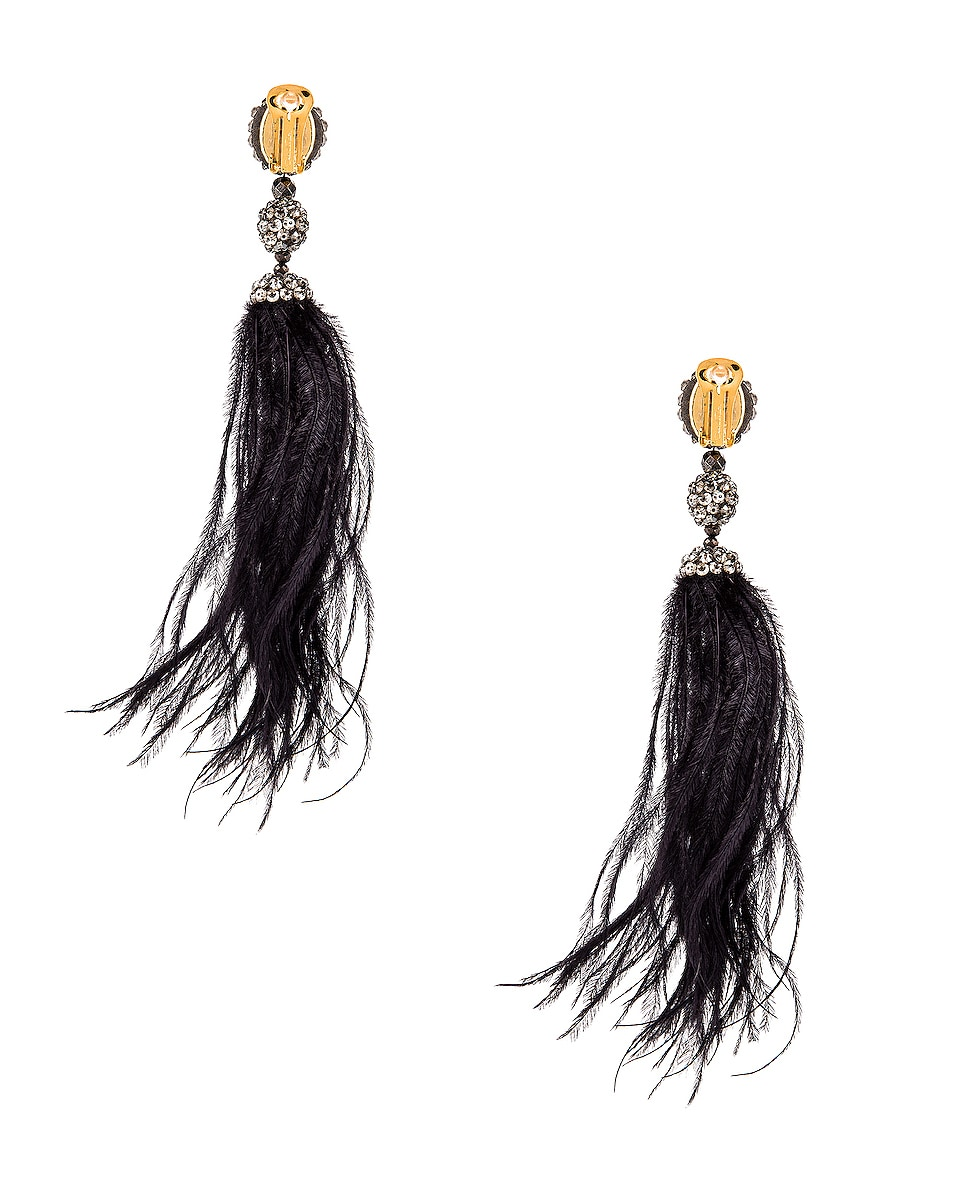 Image 4 of Oscar de la Renta Long Beaded Feather Earrings in Black