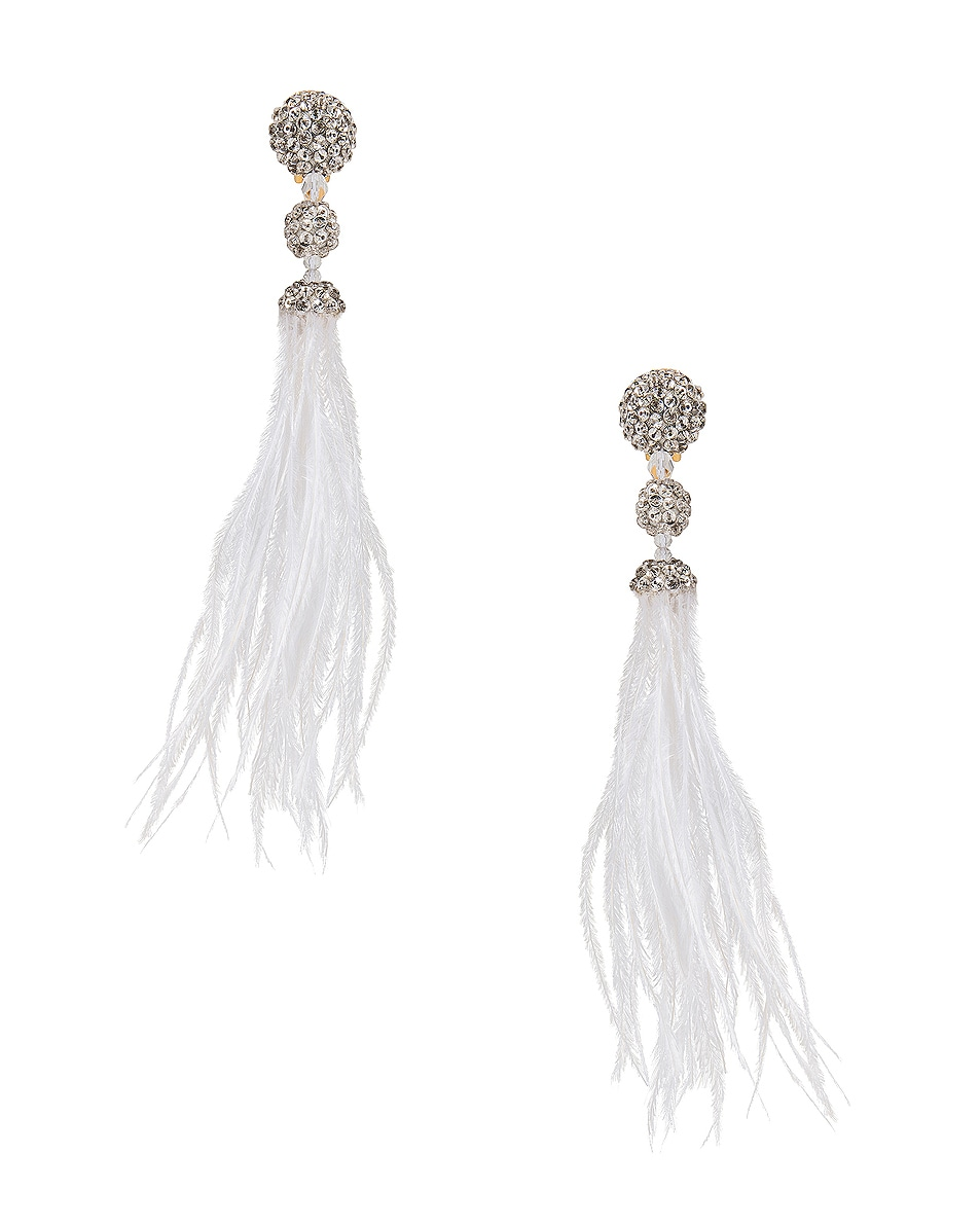 Image 1 of Oscar de la Renta Long Beaded Feather Earrings in White