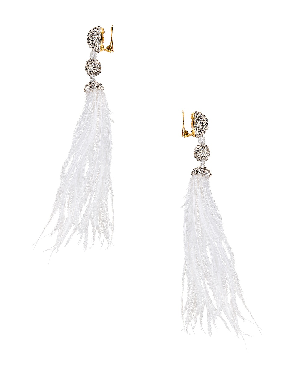 Image 3 of Oscar de la Renta Long Beaded Feather Earrings in White
