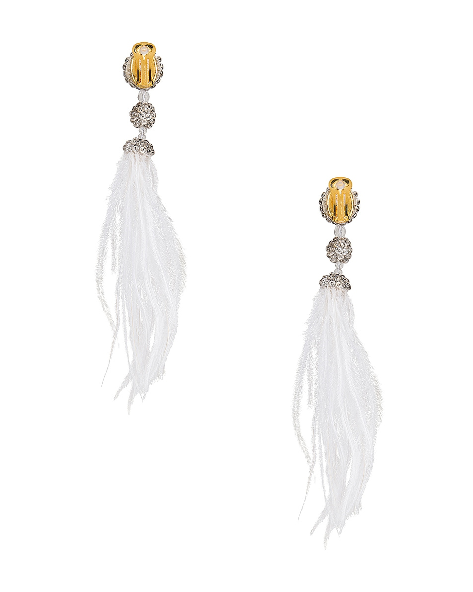 Image 4 of Oscar de la Renta Long Beaded Feather Earrings in White