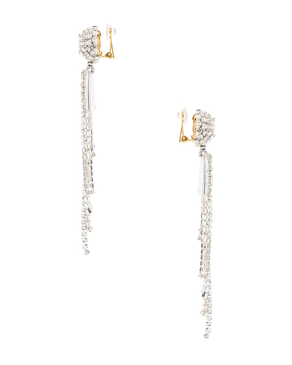 Image 3 of Oscar de la Renta Waterfall Earrings in Crystal