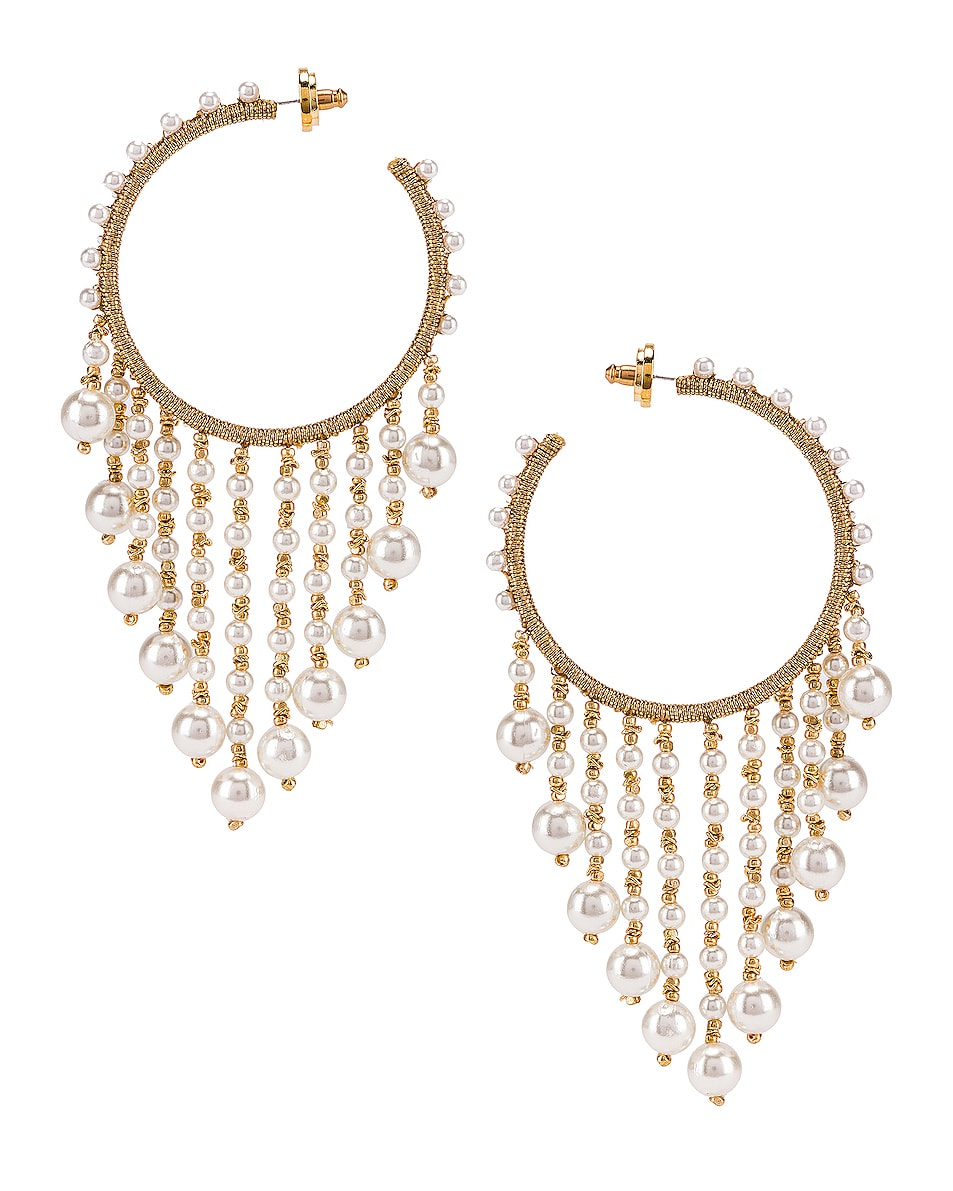 Image 1 of Oscar de la Renta Hoop Drop Earrings in White