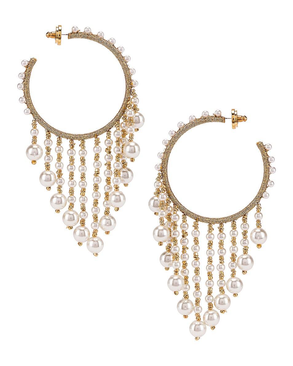 Image 4 of Oscar de la Renta Hoop Drop Earrings in White