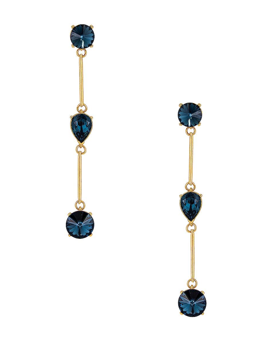 Image 1 of Oscar de la Renta Crystal Stone Earrings in Navy