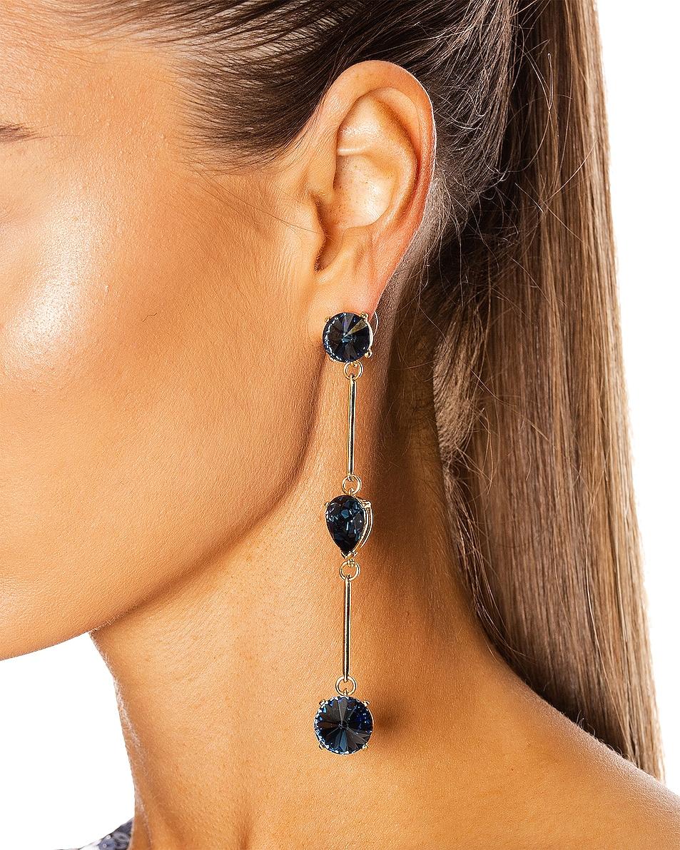 Image 2 of Oscar de la Renta Crystal Stone Earrings in Navy