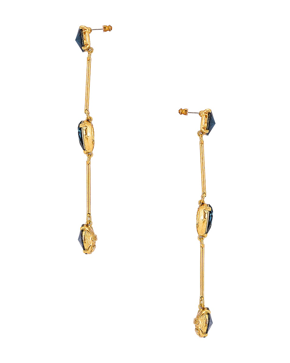 Image 3 of Oscar de la Renta Crystal Stone Earrings in Navy