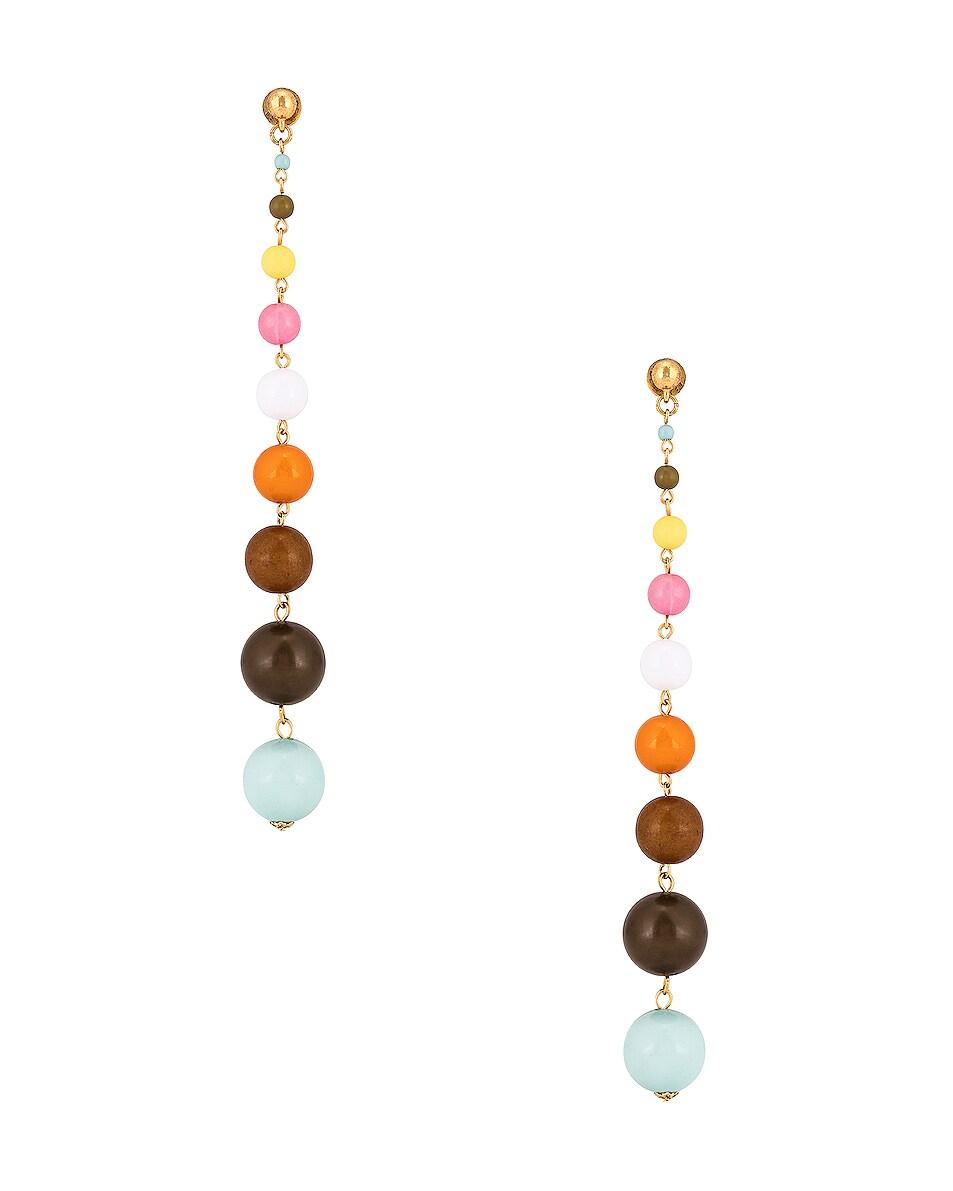 Image 1 of Oscar de la Renta Enamel Ball Drop Earrings in Multi