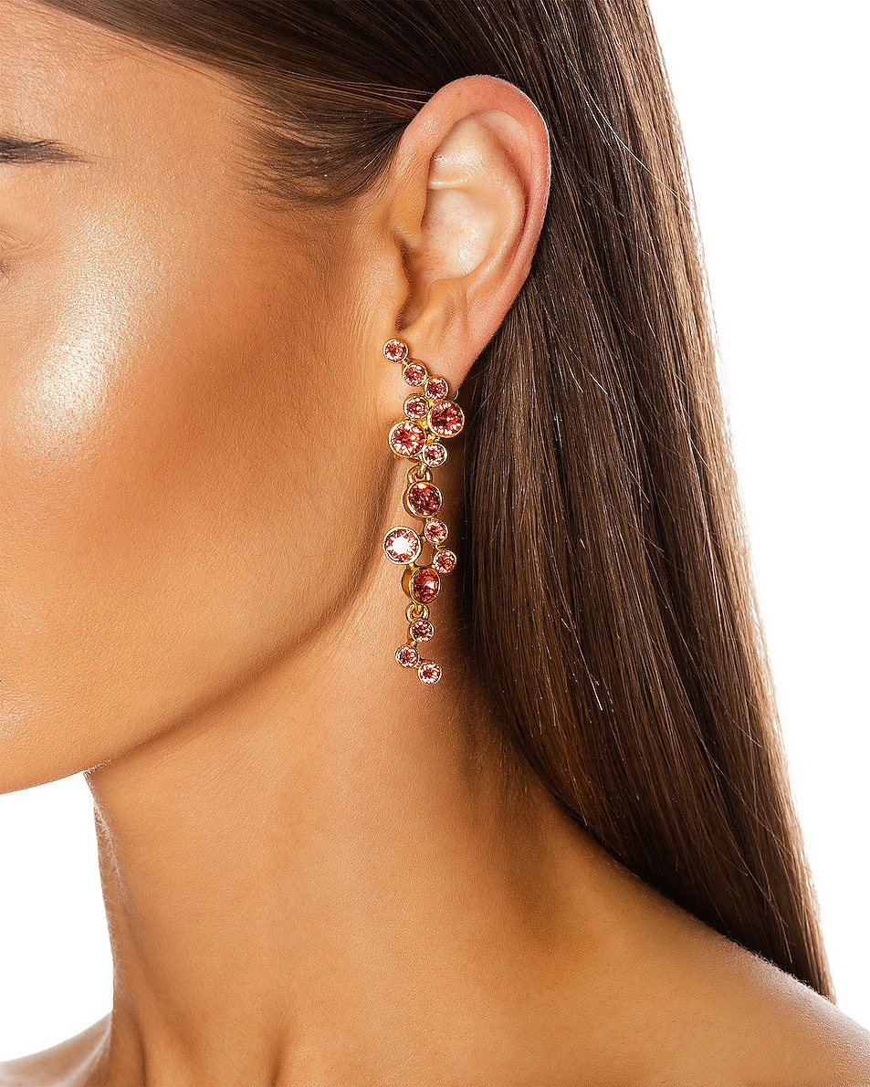 Image 2 of Oscar de la Renta Round Crystal Earrings in Pink