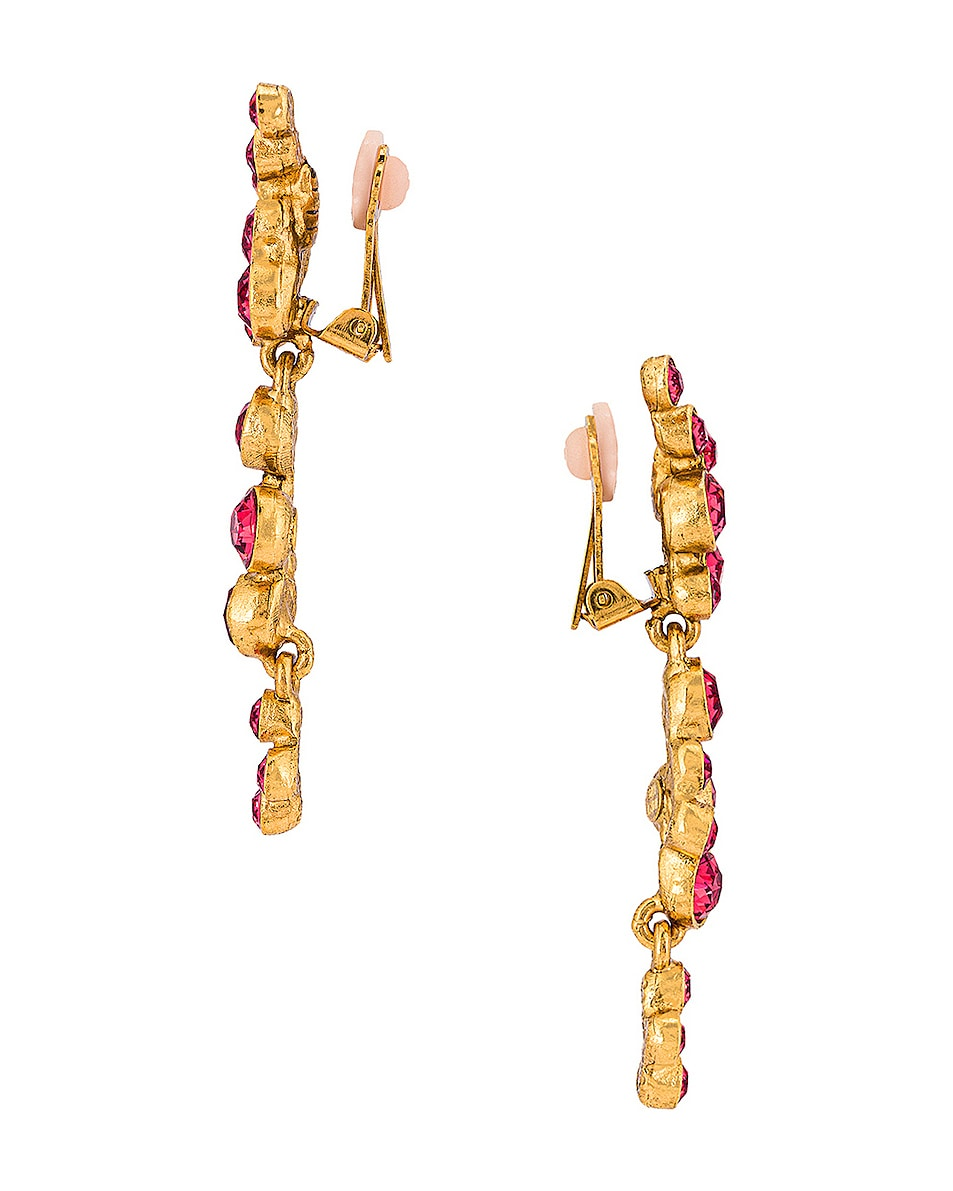 Image 3 of Oscar de la Renta Round Crystal Earrings in Pink
