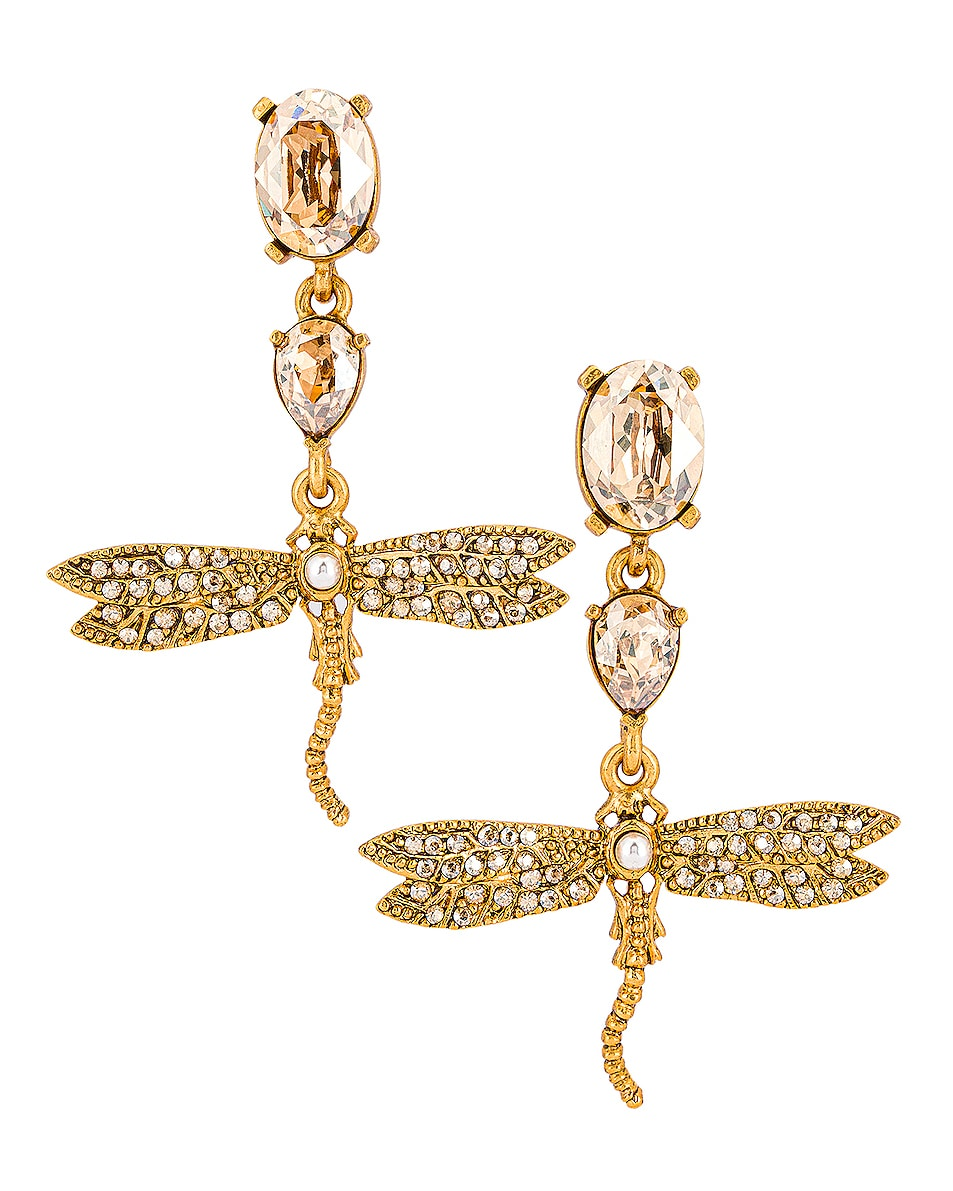 Image 1 of Oscar de la Renta Dragonfly Drop Earrings in Cry Gold Shadow