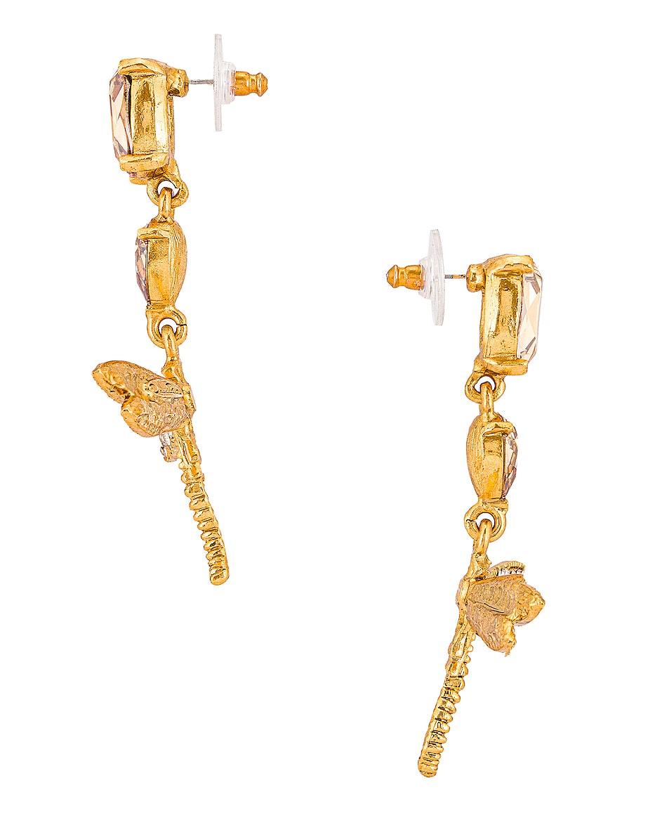 Image 3 of Oscar de la Renta Dragonfly Drop Earrings in Cry Gold Shadow