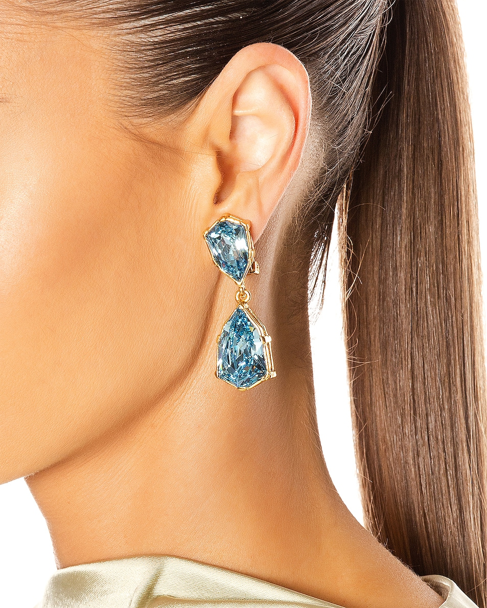 Image 2 of Oscar de la Renta Crystal Drop Earrings in Aquamarine