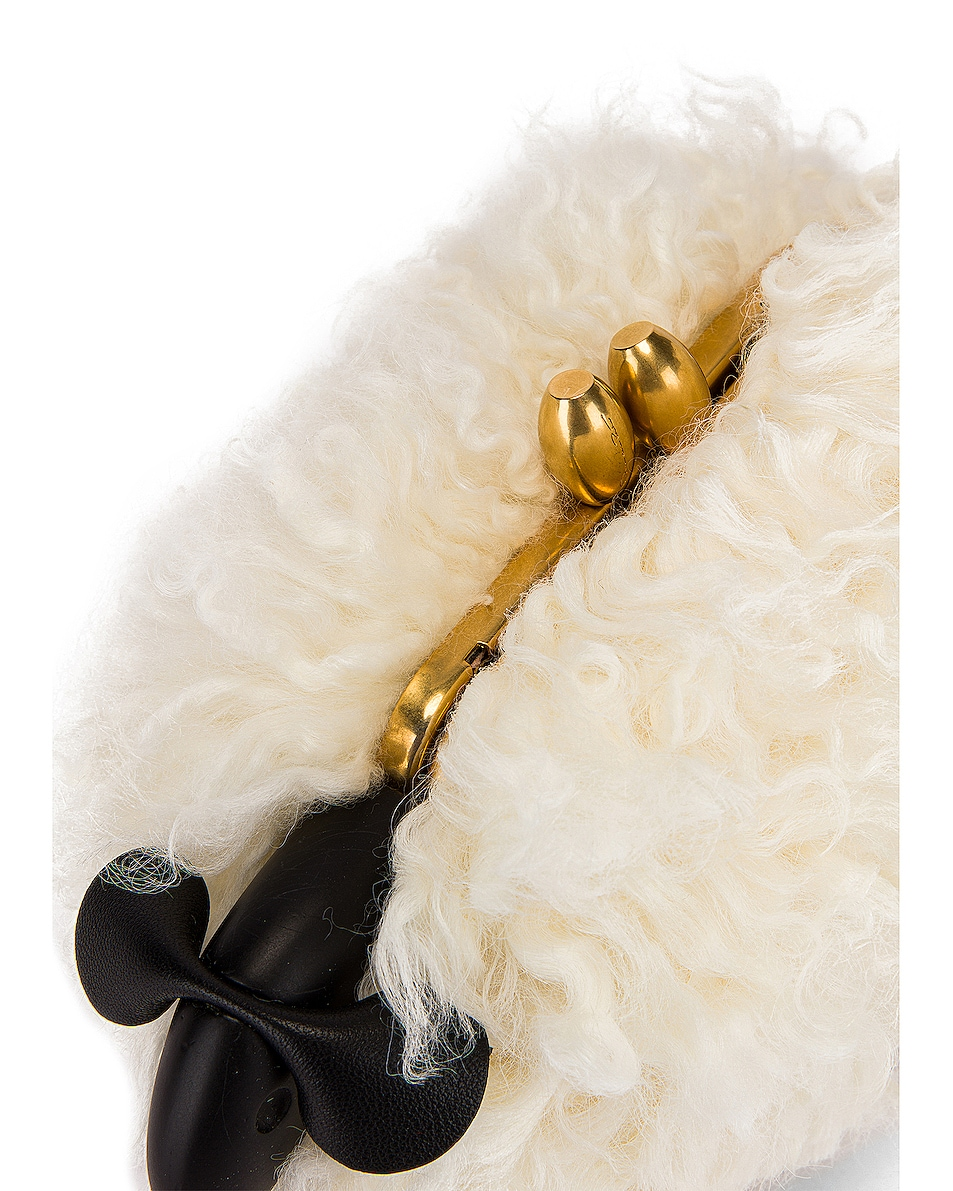 Image 7 of Oscar de la Renta Shearling Sheep Bag in Ivory