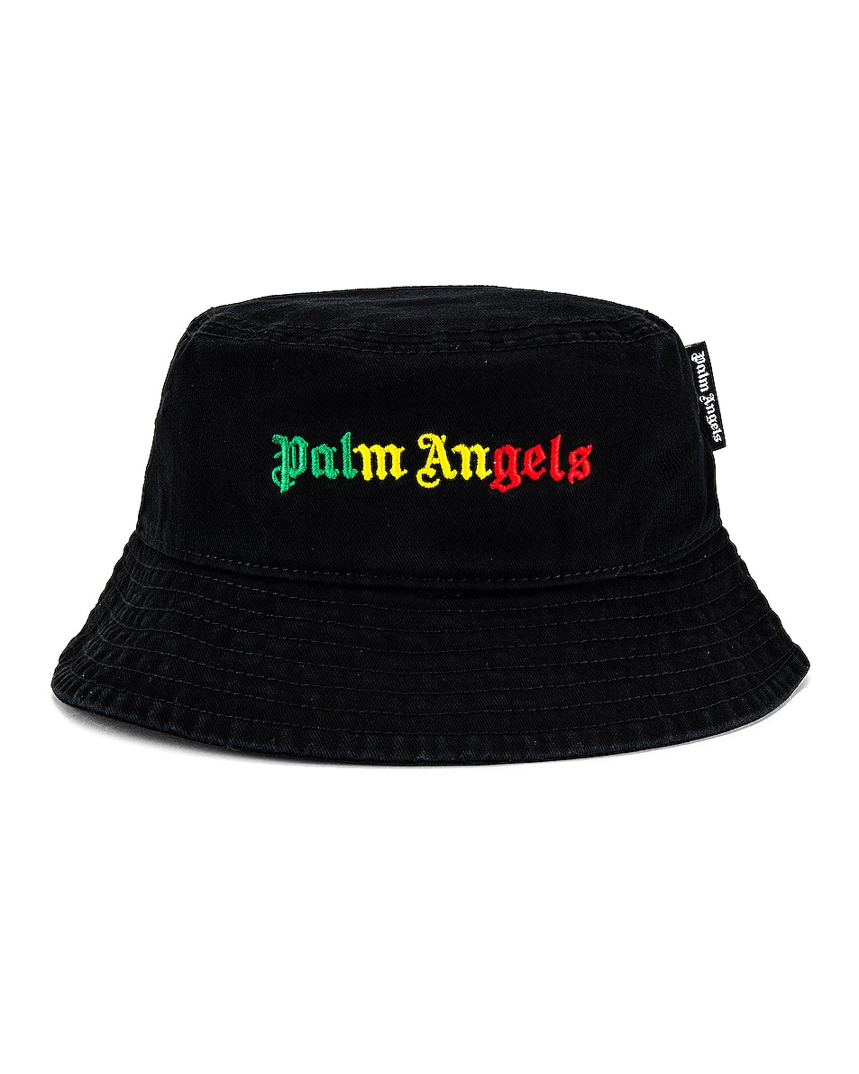 Image 1 of Palm Angels Miami Logo Bucket Hat in Black